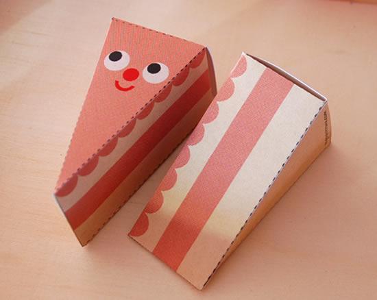 Caixa fatia de bolo para imprimir