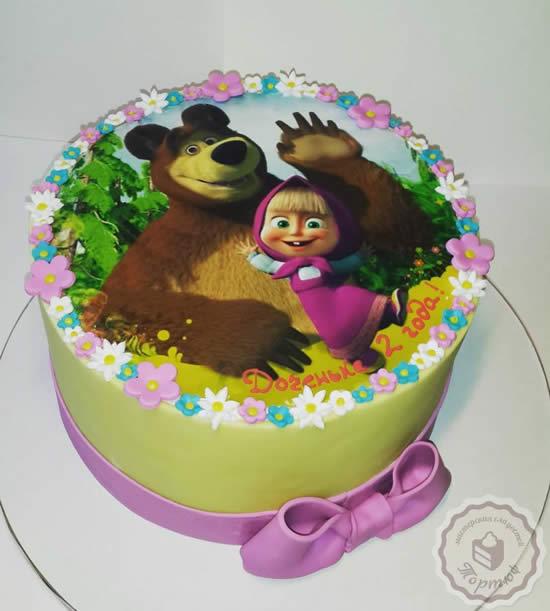Bolo decorado da Marsha e o Urso