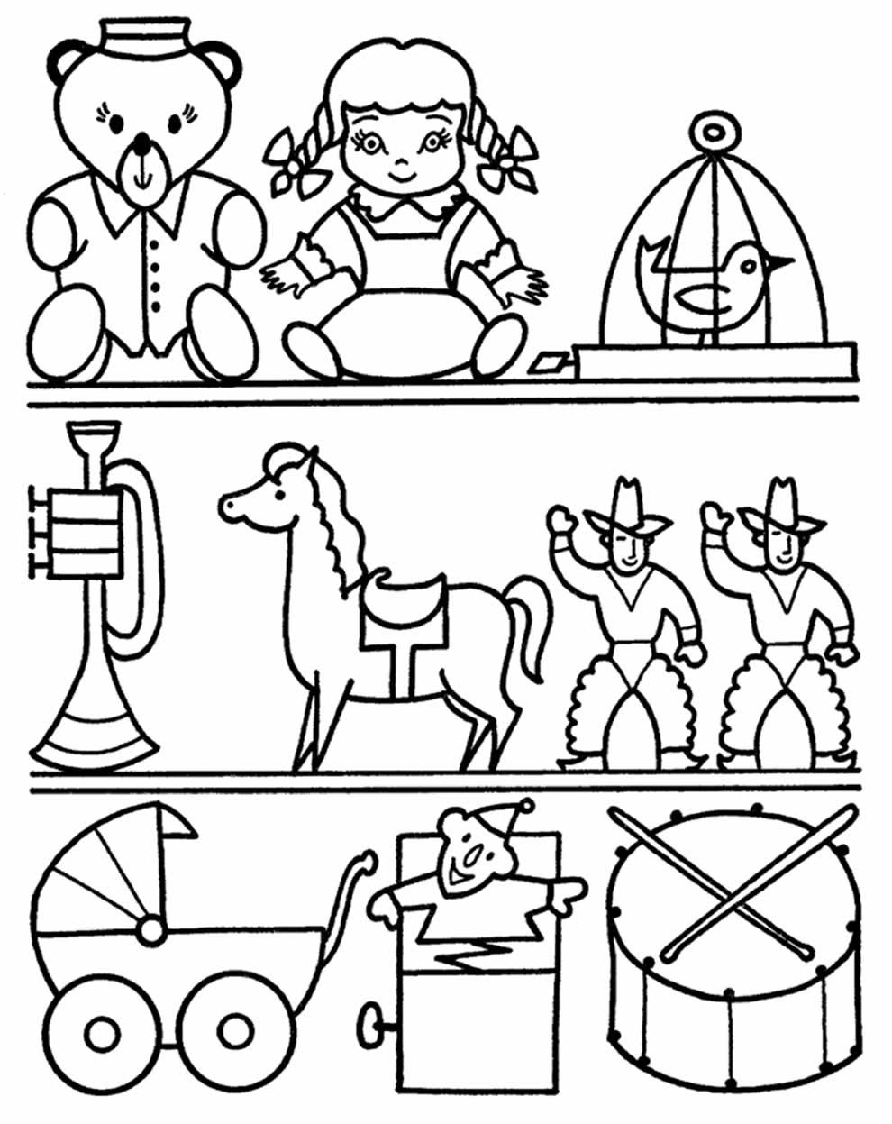Desenhos de brinquedo para pintar e colorir