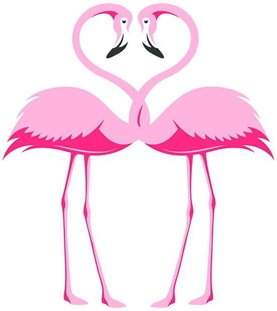 Desenho de flamingos
