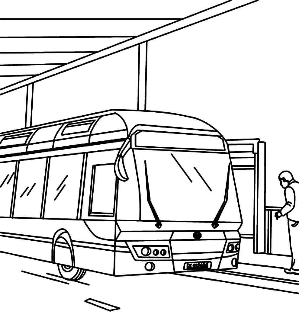 Desenho de parada de ônibus para pintar