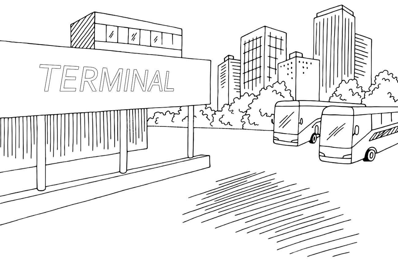 Desenho de termnal de ônibus para colorir