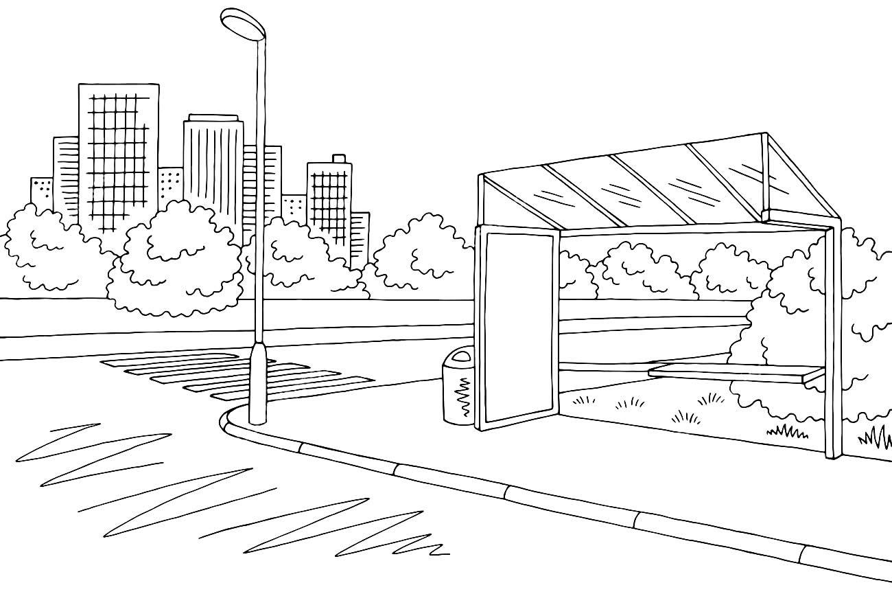 Desenho de parada de ônibus para colorir