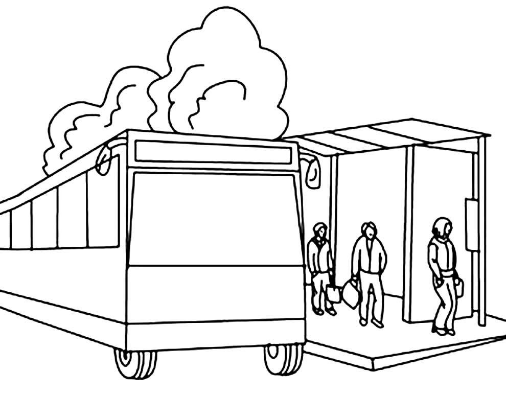 Desenho para colorir de parada de ônibus