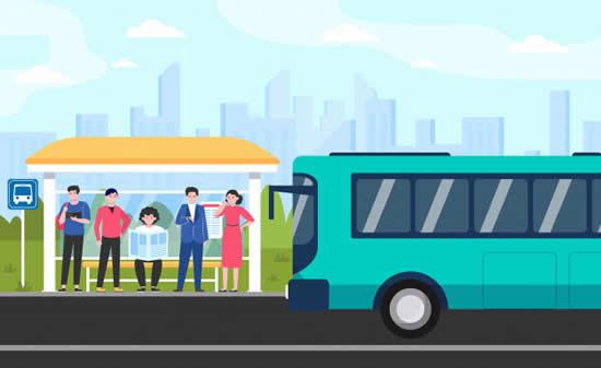 Desenho de parada de ônibus