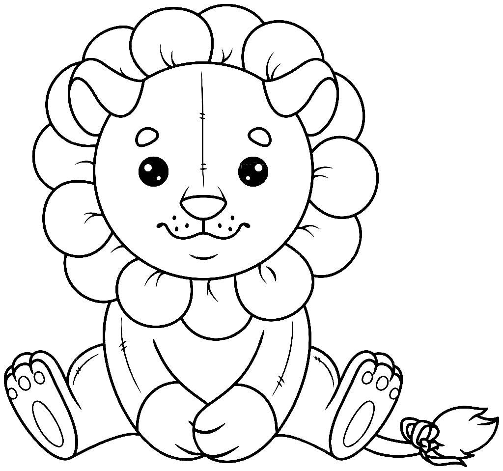 Imagem de leãozinho de brinquedo para pintar
