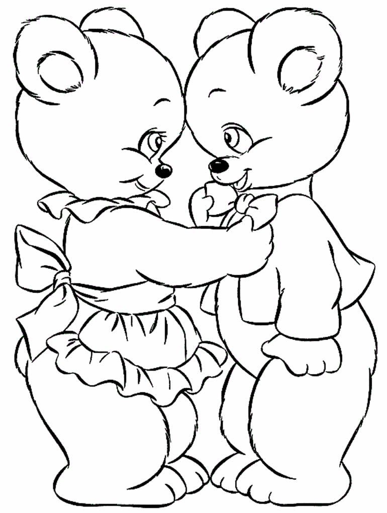 Desenho de ursinhos para pintar