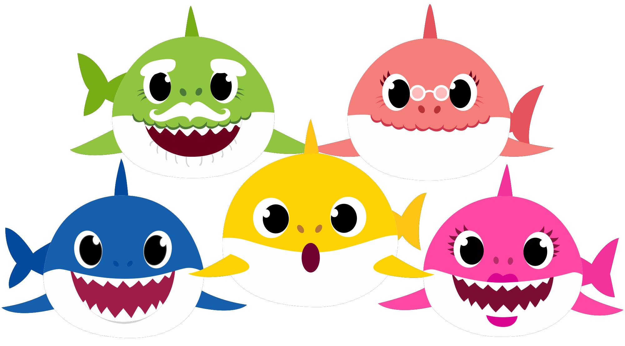 Moldes coloridos para Festa Baby Shark