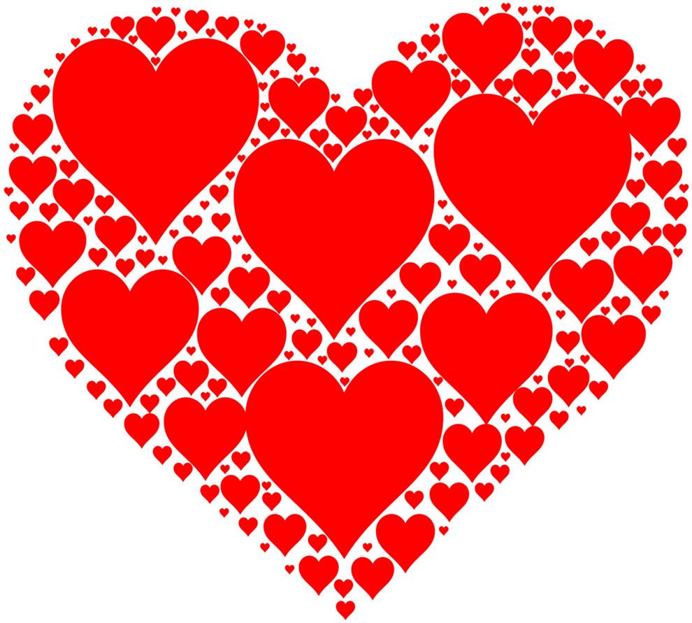 Molde vermelho de coração estilizado