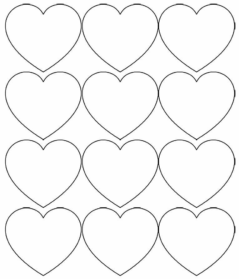 Moldes de corações pequenos
