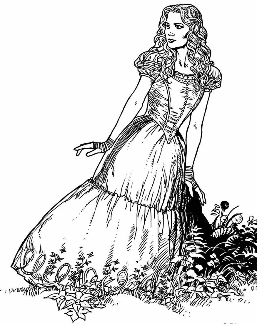 Alice no País das Maravilhas para colorir
