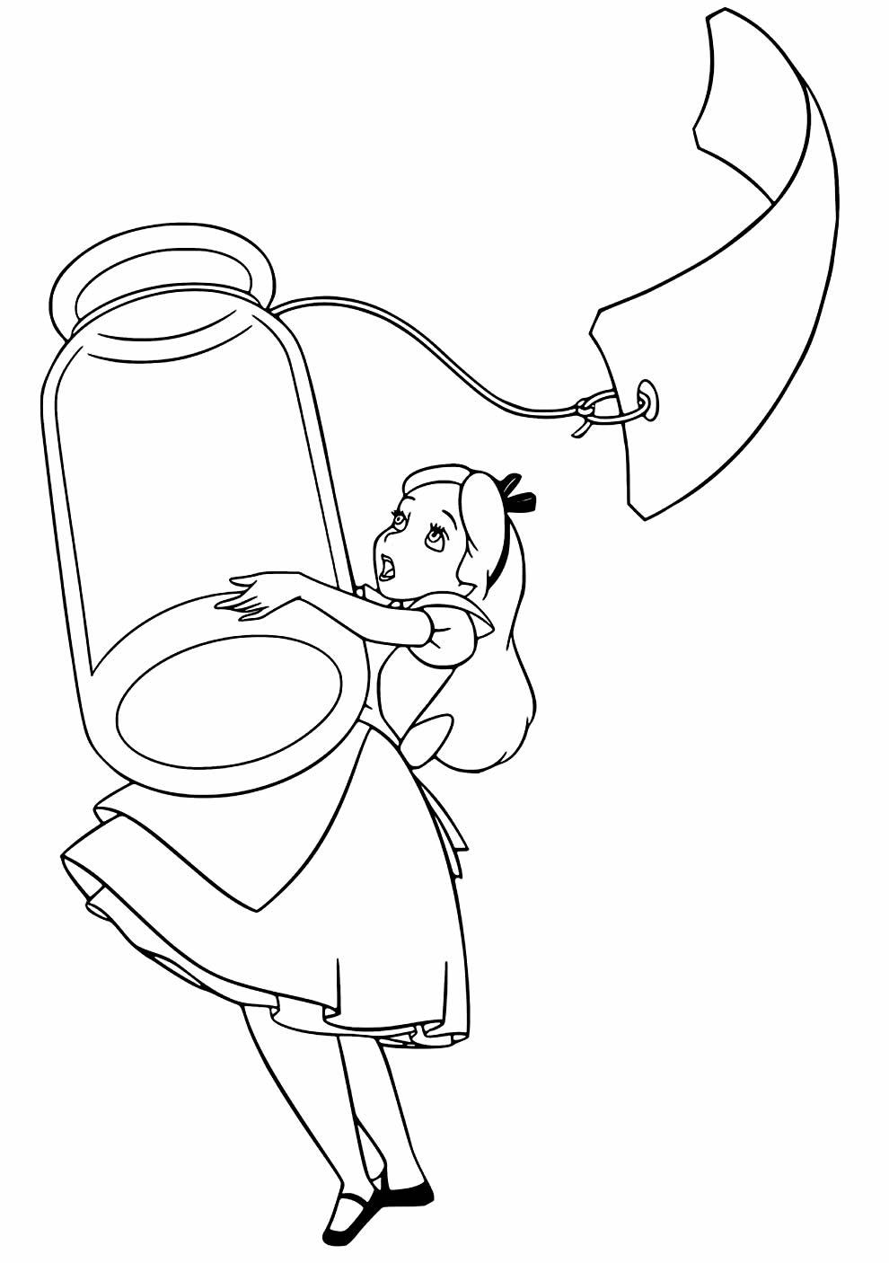 Desenho de Alice no País das Maravilhas para pintar