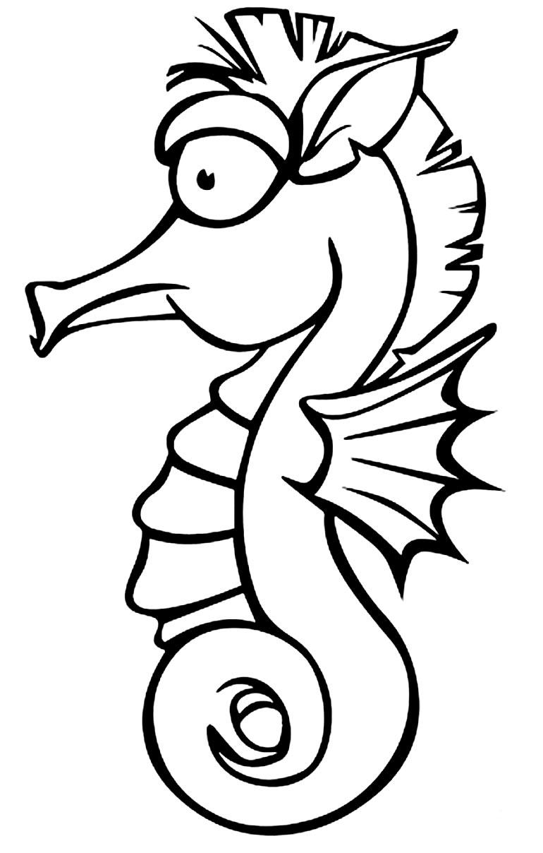 Desenho de cavalo marinho para colorir