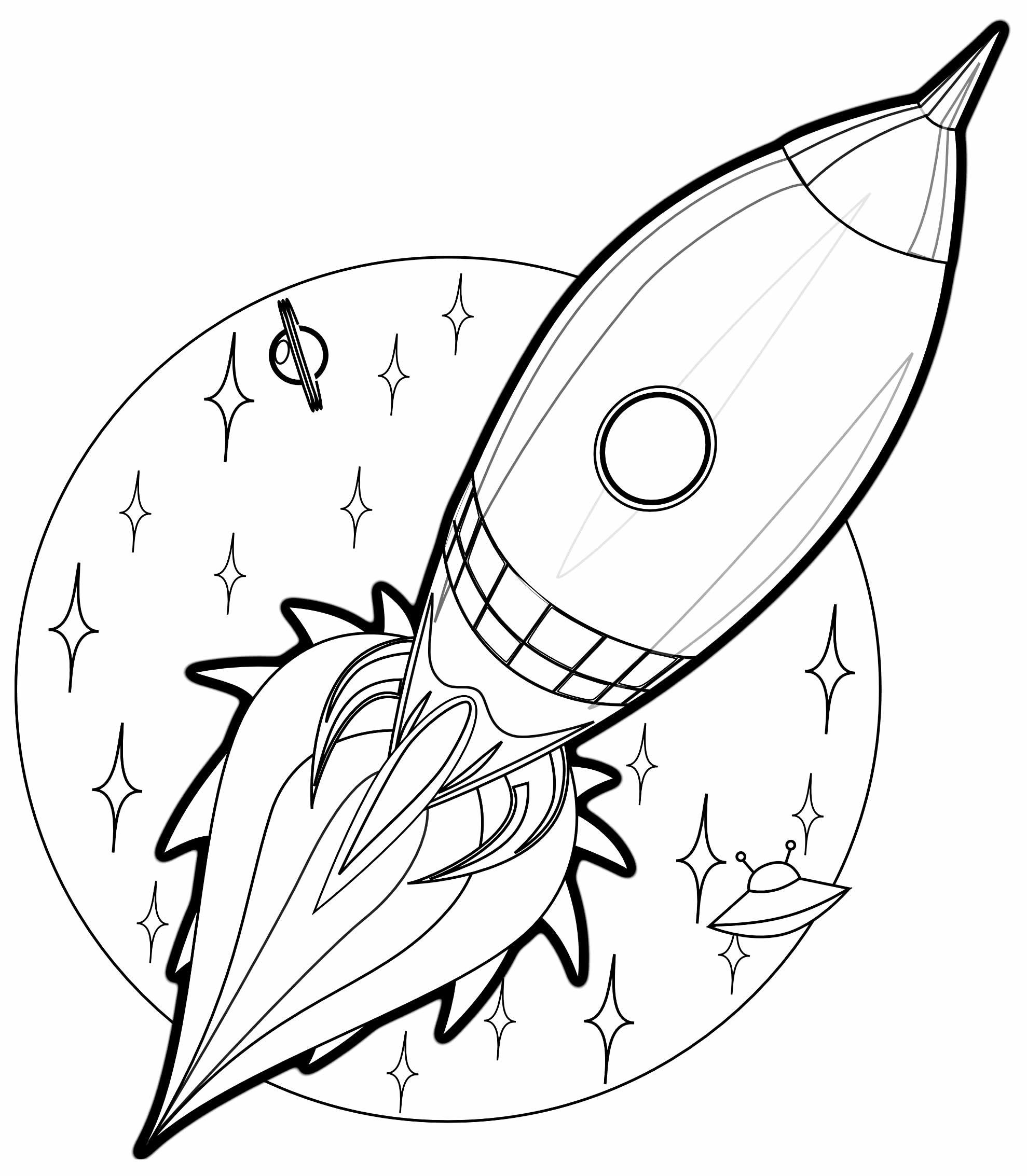 Desenho de Foguete Espacial para colorir