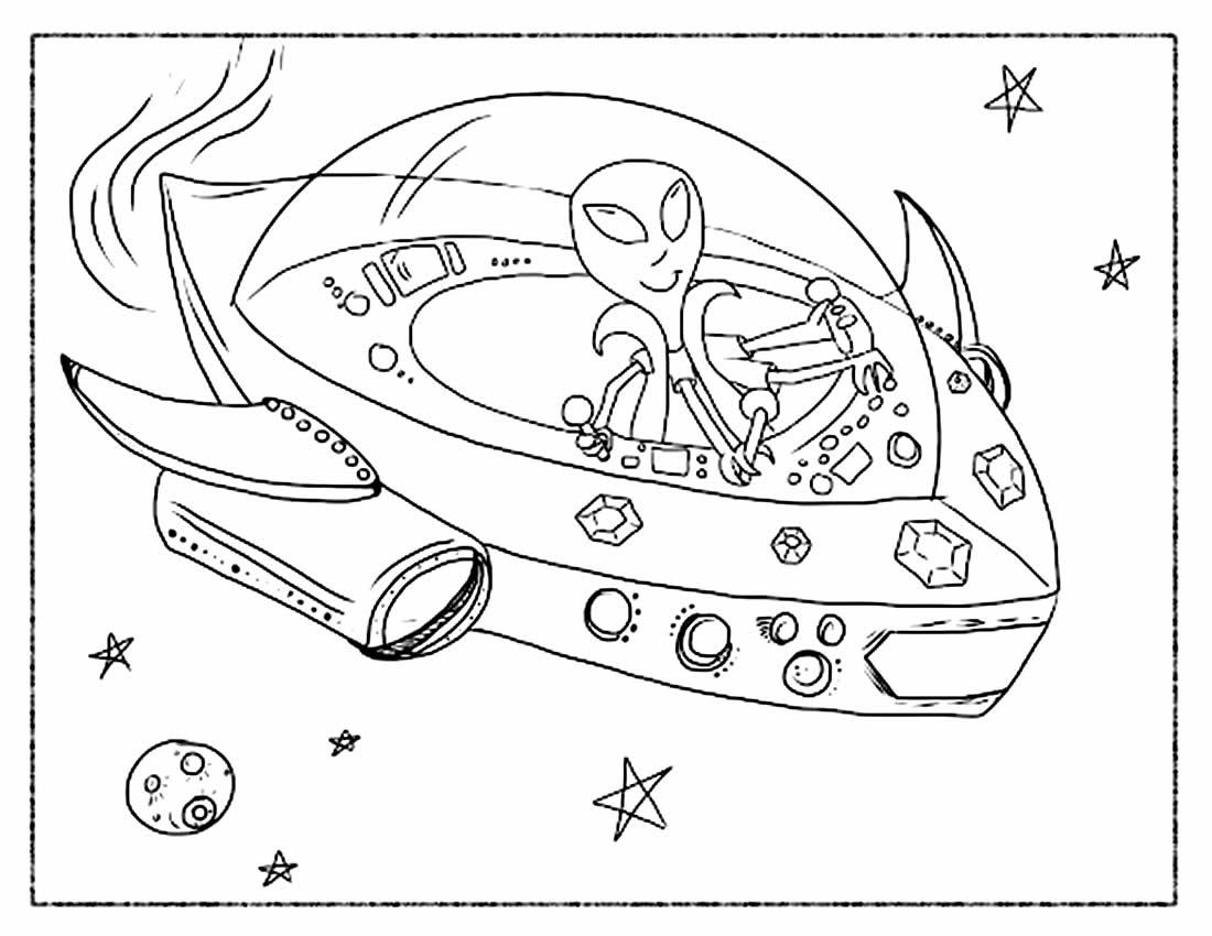 Desenho de Disco Voador para colorir
