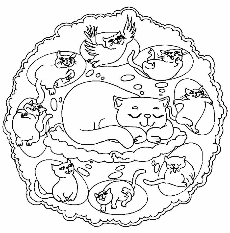 Desenho de Mandala de Gato para colorir
