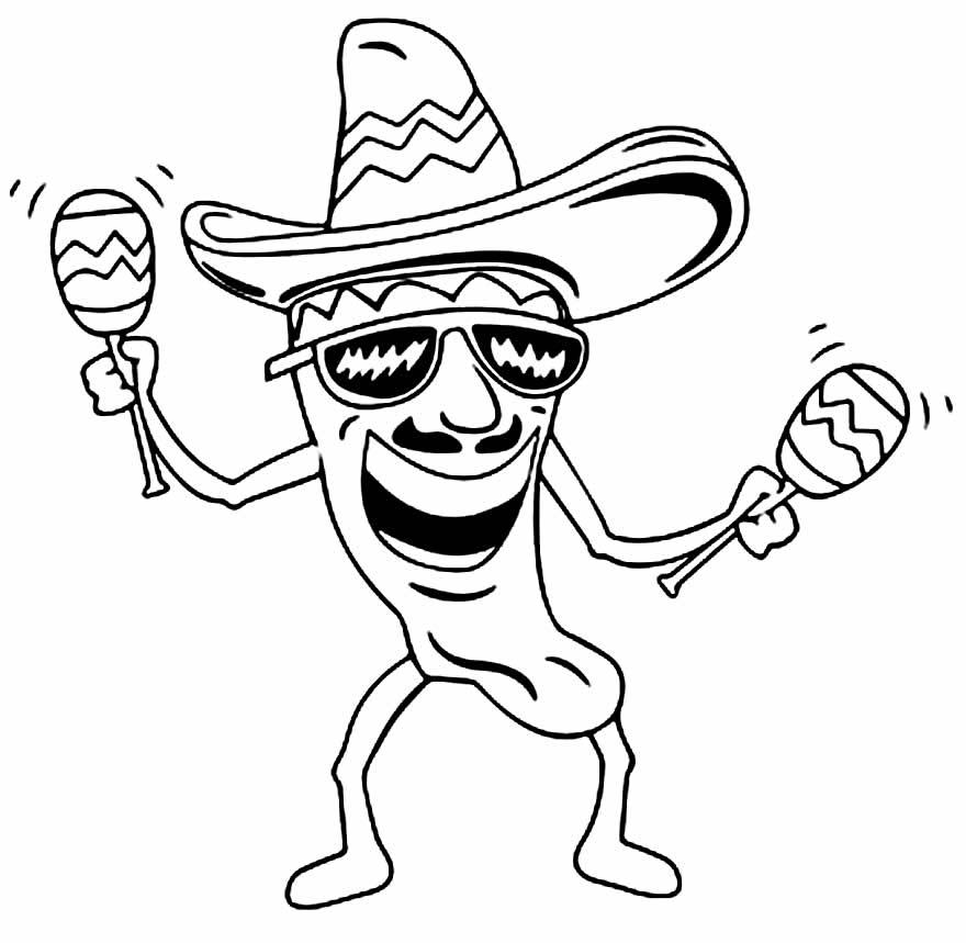 Desenho de Pimenta Mexicana para pintar