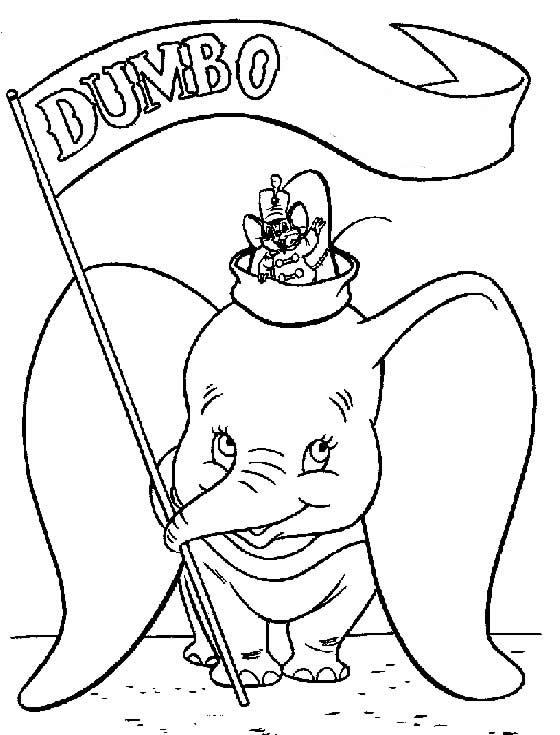 Desenho de Dumbo para pintar