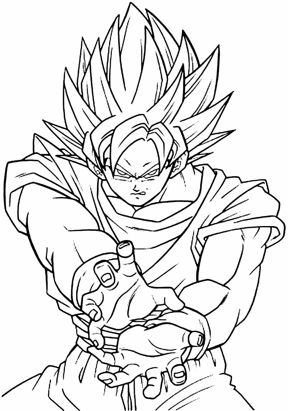Desenho de Goku para pintar