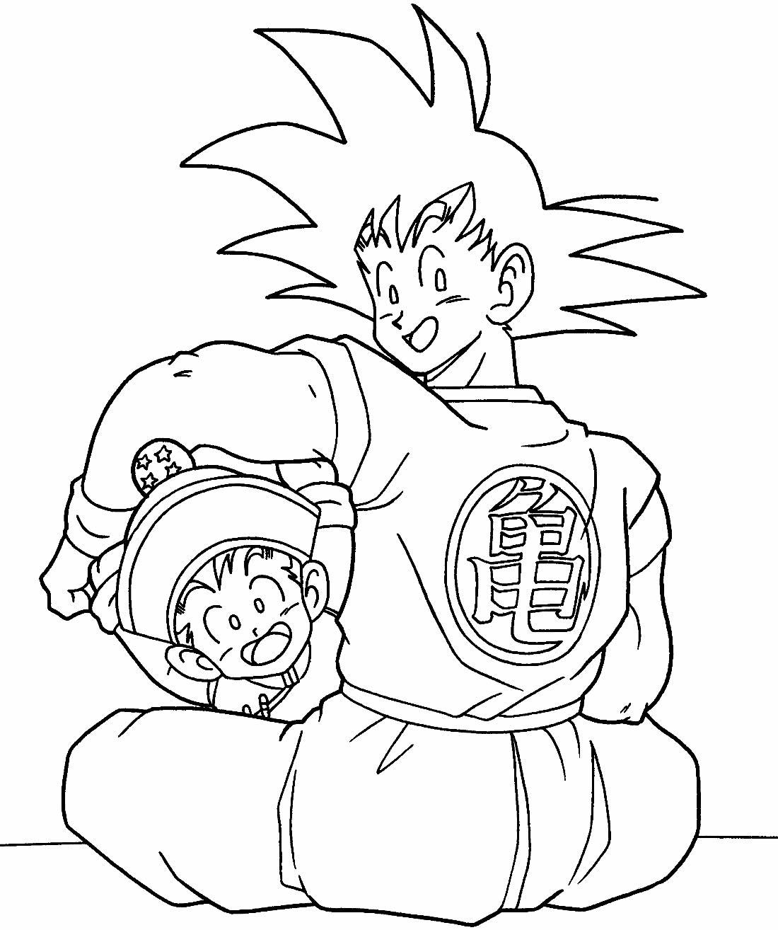 Desenho de Goku para imprimir e colorir