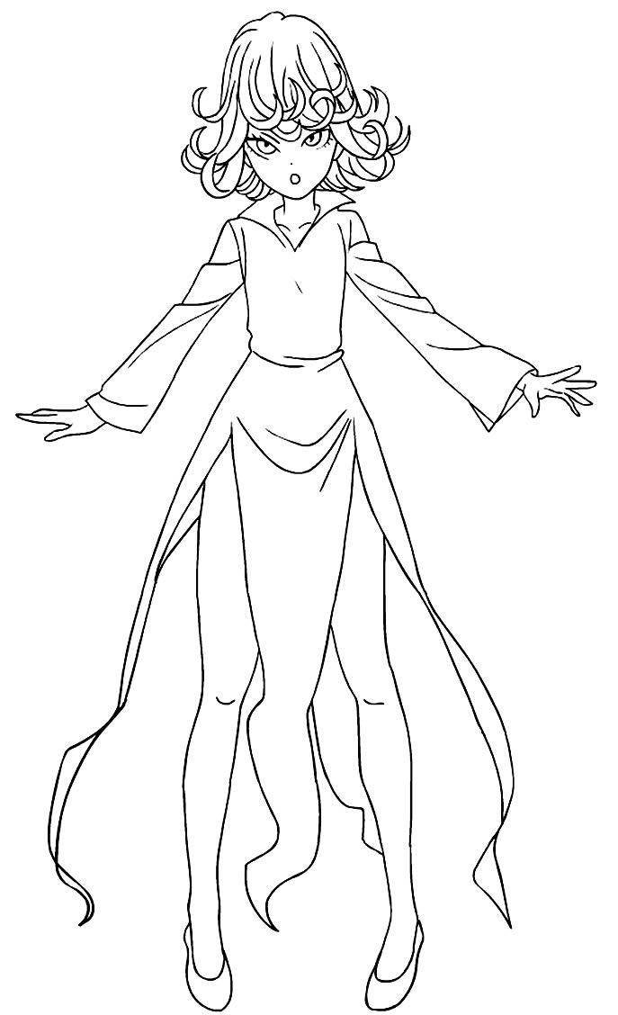 Desenho da Tatsumaki para colorir