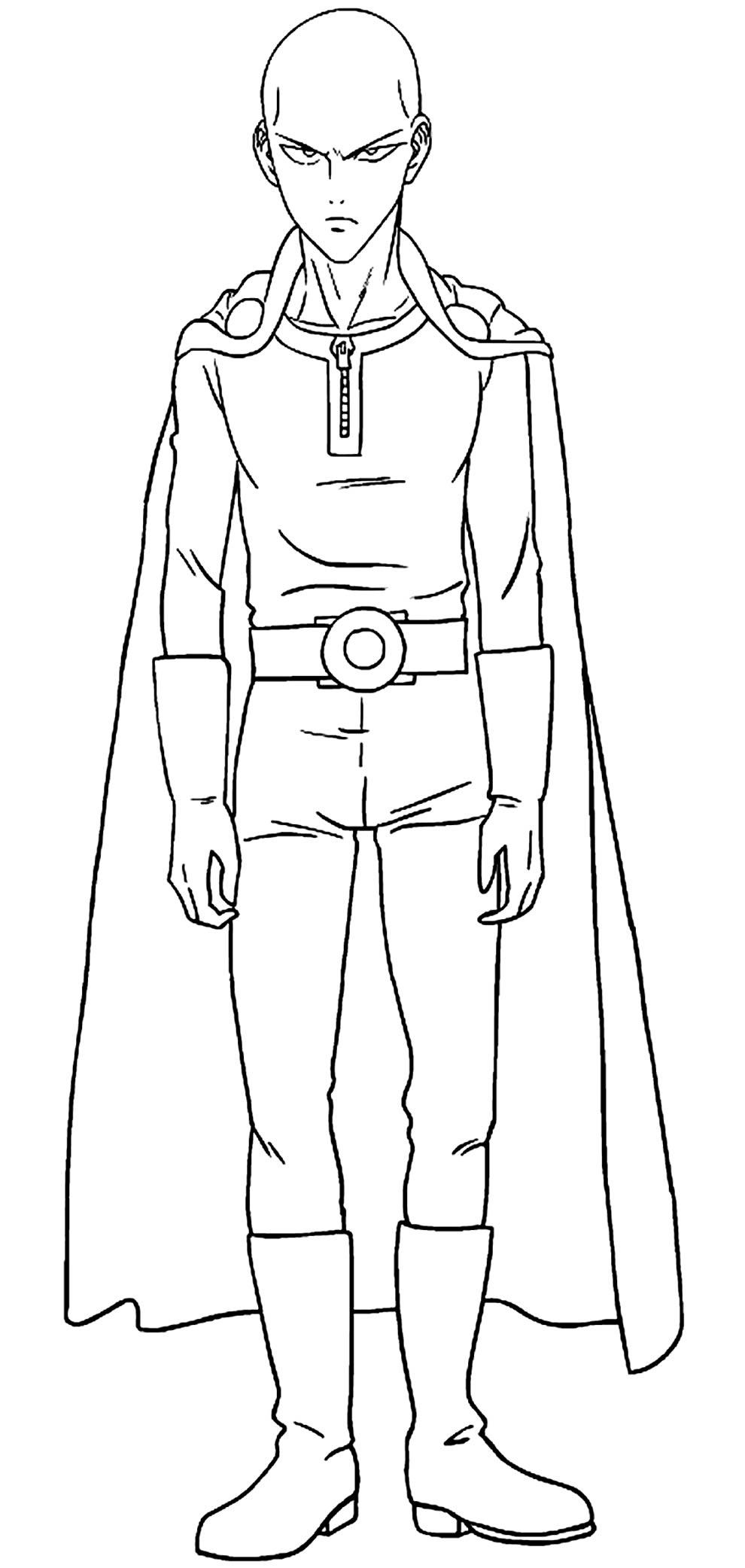 Desenho de Saitama para pintar