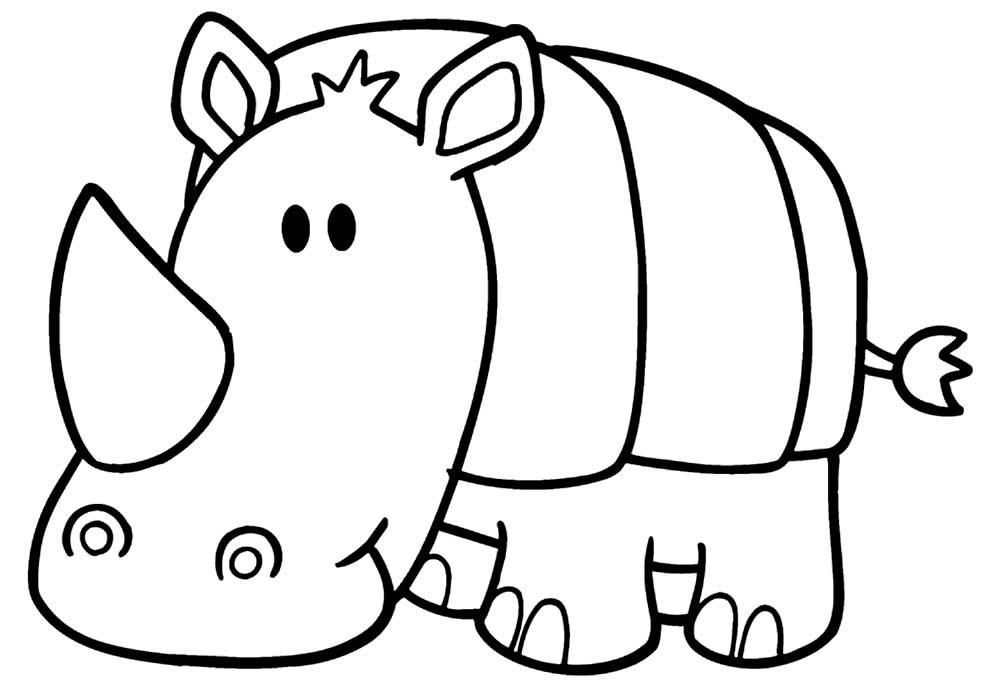 Desenho de Rinoceronte para pintar