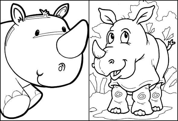Desenhos de Rinoceronte para colorir