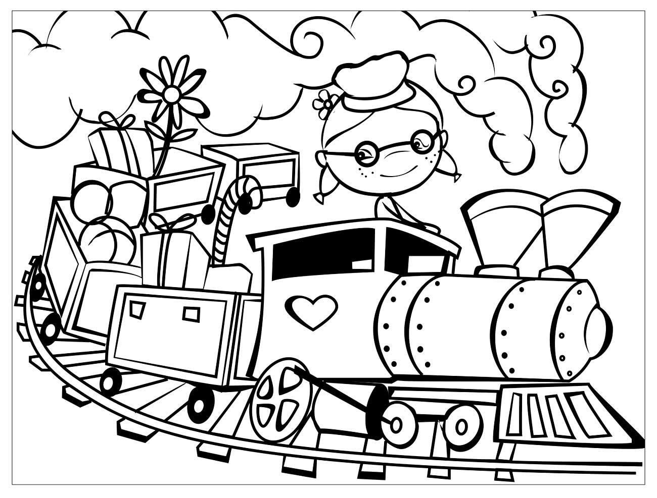 Desenho de Trem para pintar