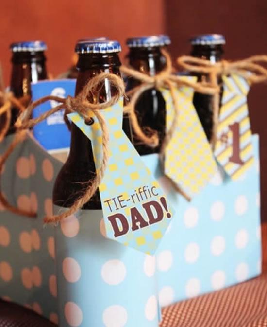 Lembrança com garrafas para Dia dos Pais