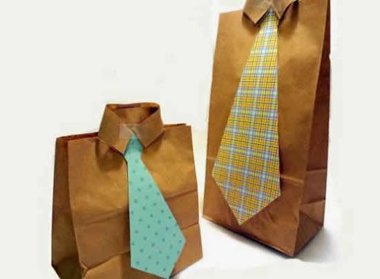 Lembrança com sacola de papel para Dia dos Pais