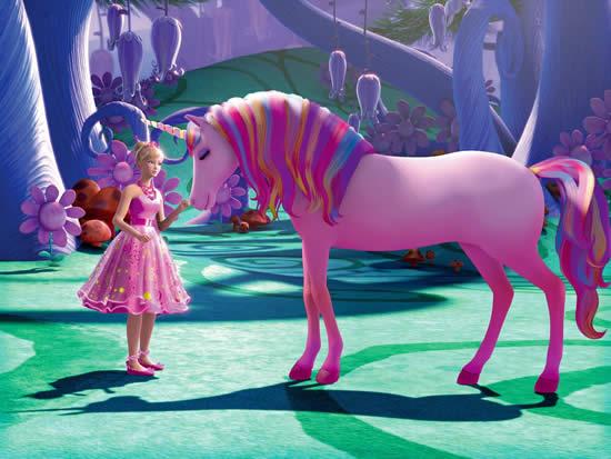Desenho da Barbie e o Unicórnio das Luzes Mágicas para colorir