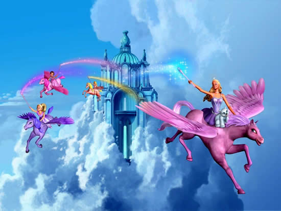 Desenho da Barbie e o Unicórnio das Luzes Mágicas