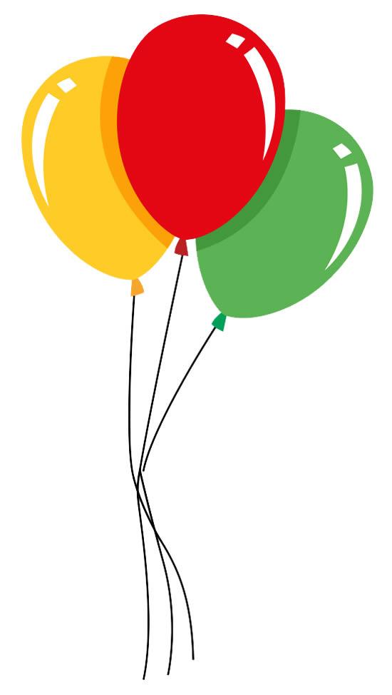 Desenho colorido de Balões