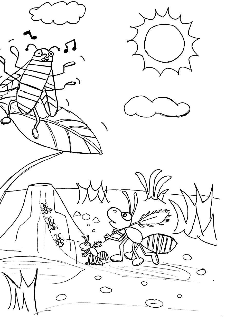 Desenho para pintar de Gafanhoto