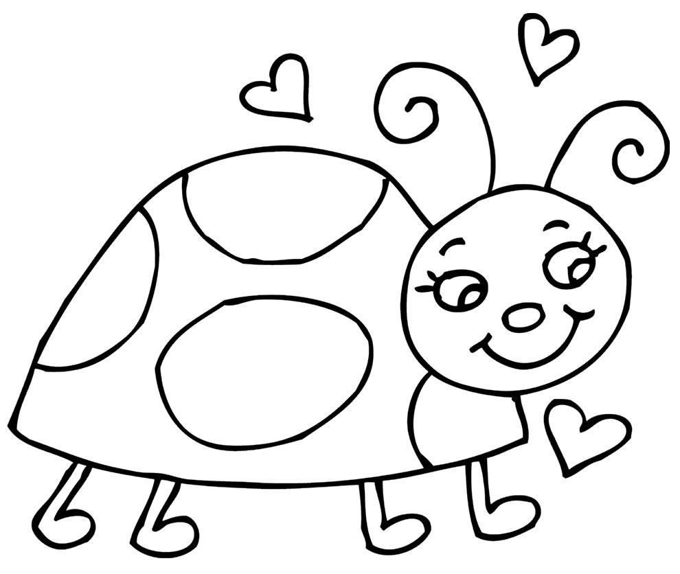 Desenho de Joaninha para pintar