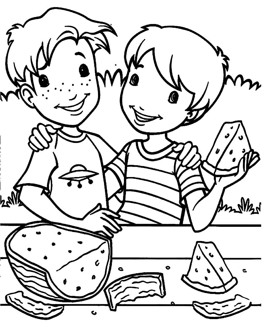 Comendo Melancia - Imprimir para colorir