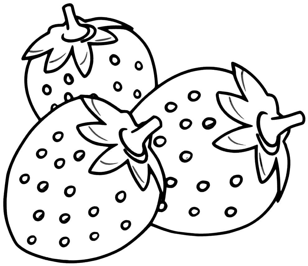 Desenho de Morangos para colorir