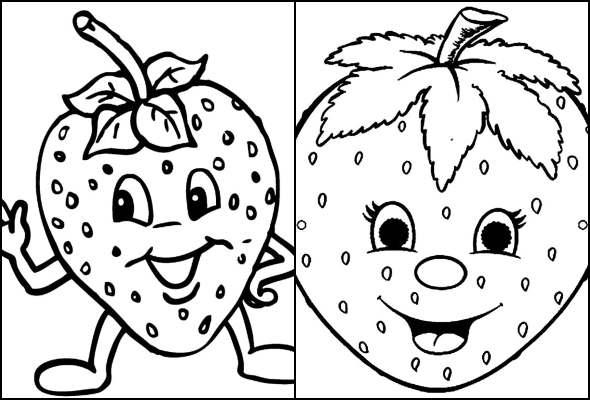 Desenhos de Morango para colorir
