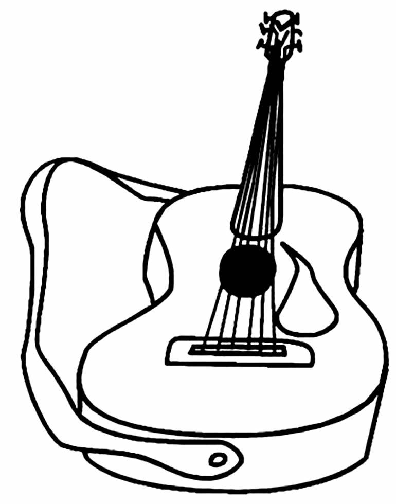Desenho de Violão para colorir