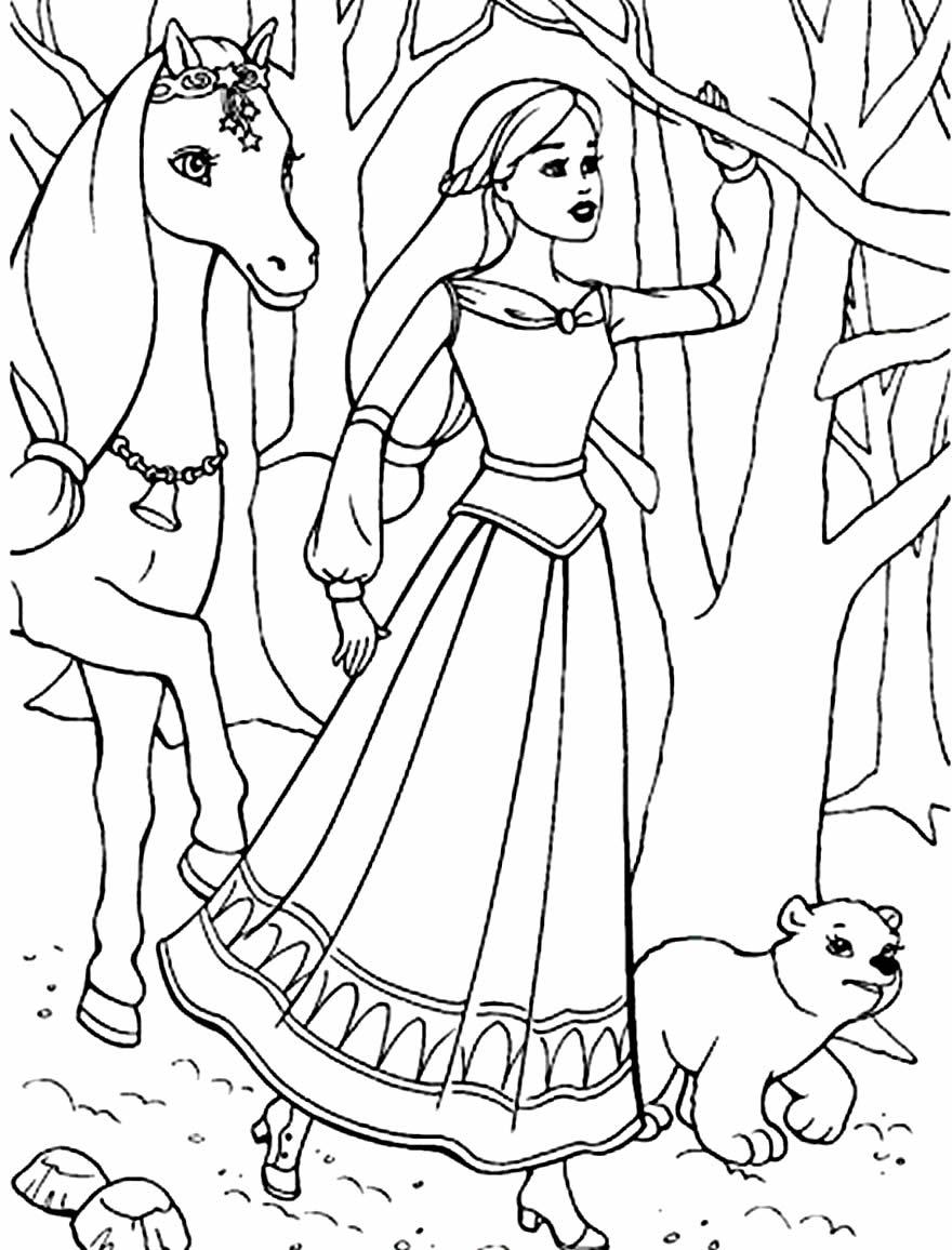 Desenho da Barbie e Unicórnio de Luzes Mágicas para colorir