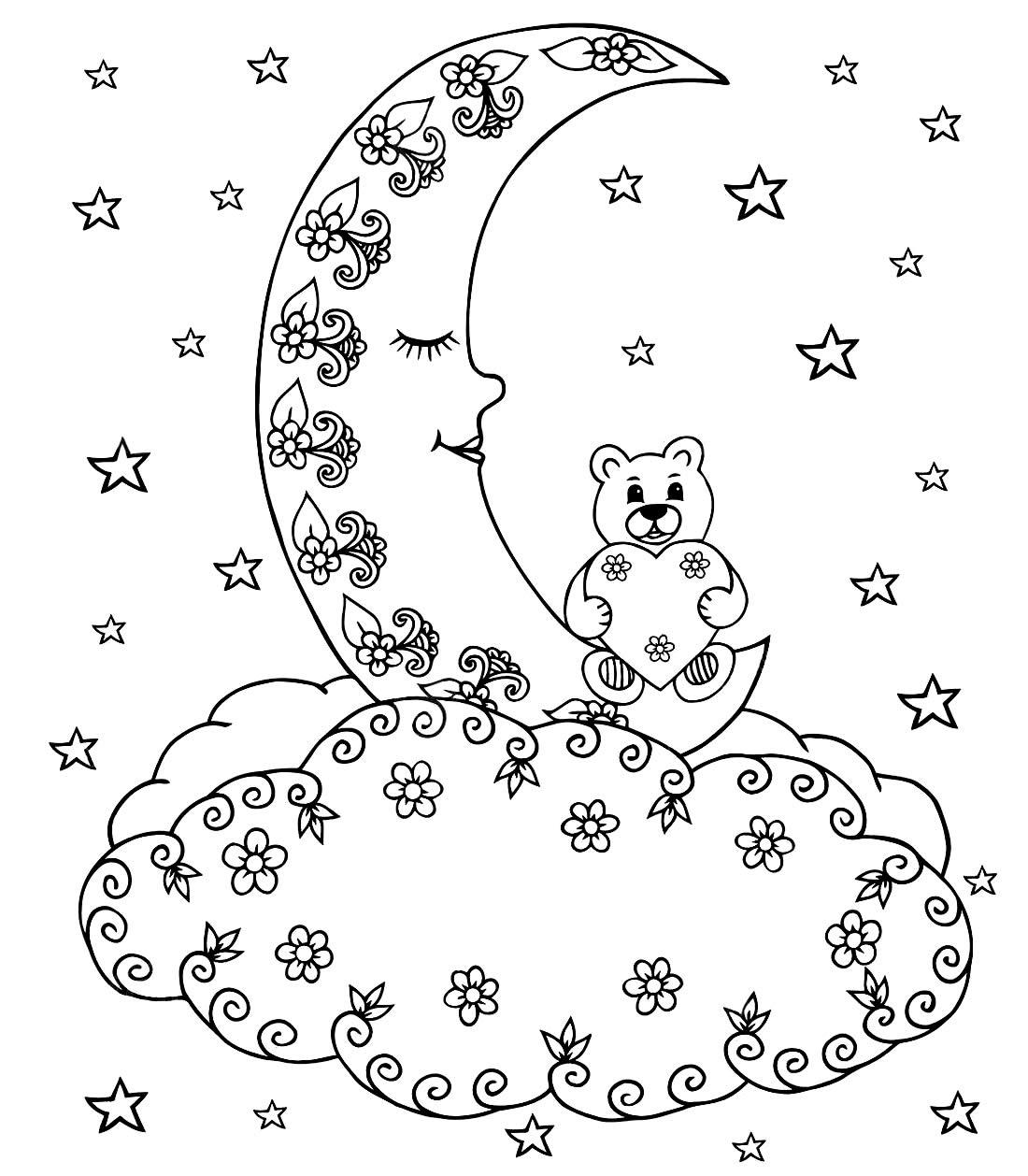 Desenho da Lua para pintar