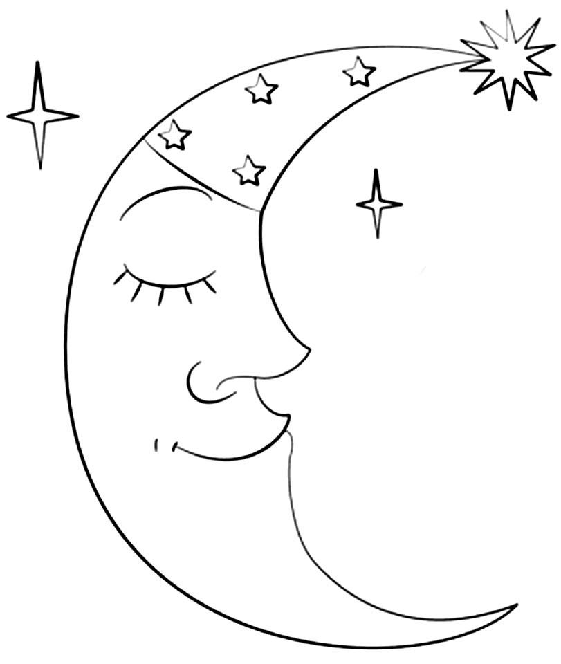Desenho de Lua para pintar
