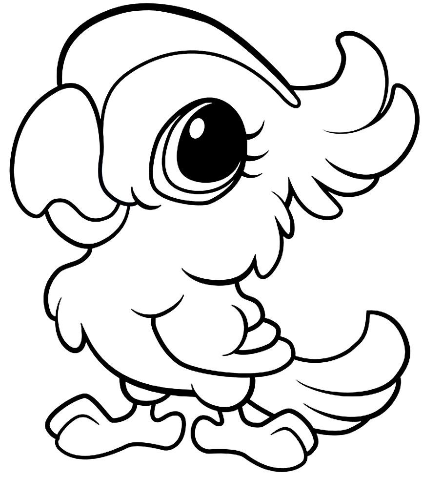 Desenho fofo de Papagaio para colorir