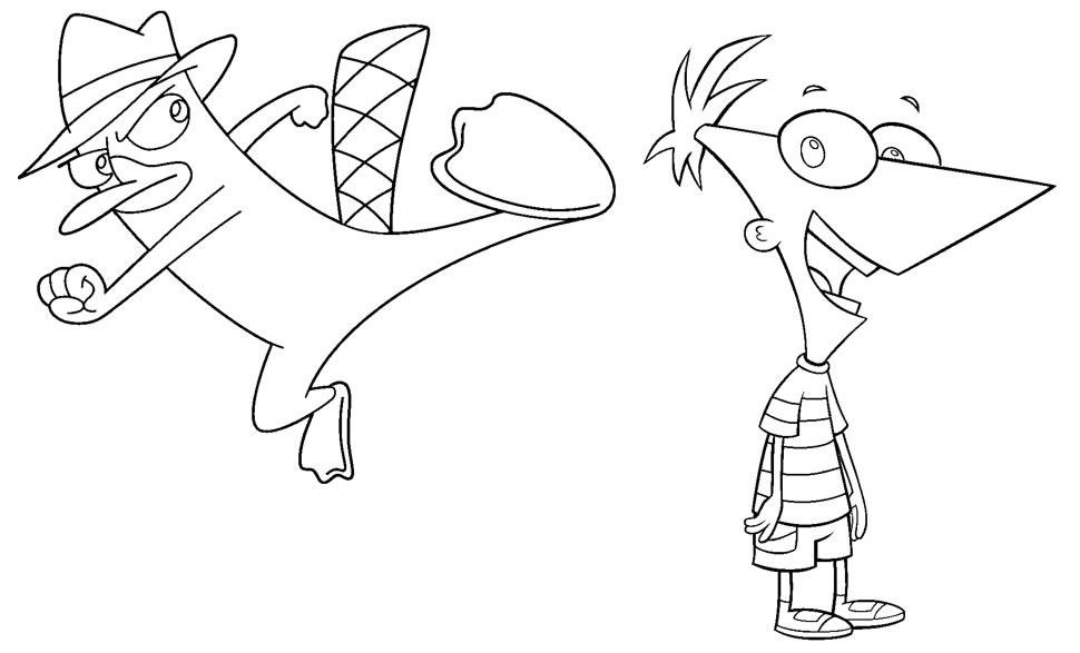 Desenho de Phineas e Ferb para pintar