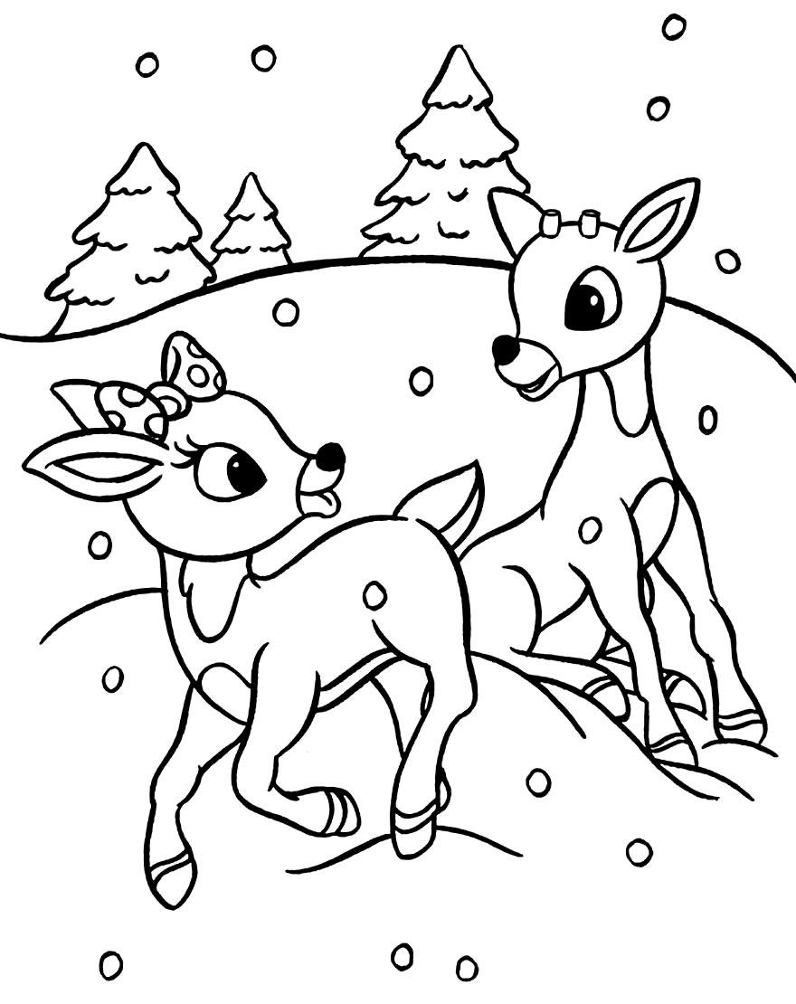 Desenho de Renas de Natal para colorir