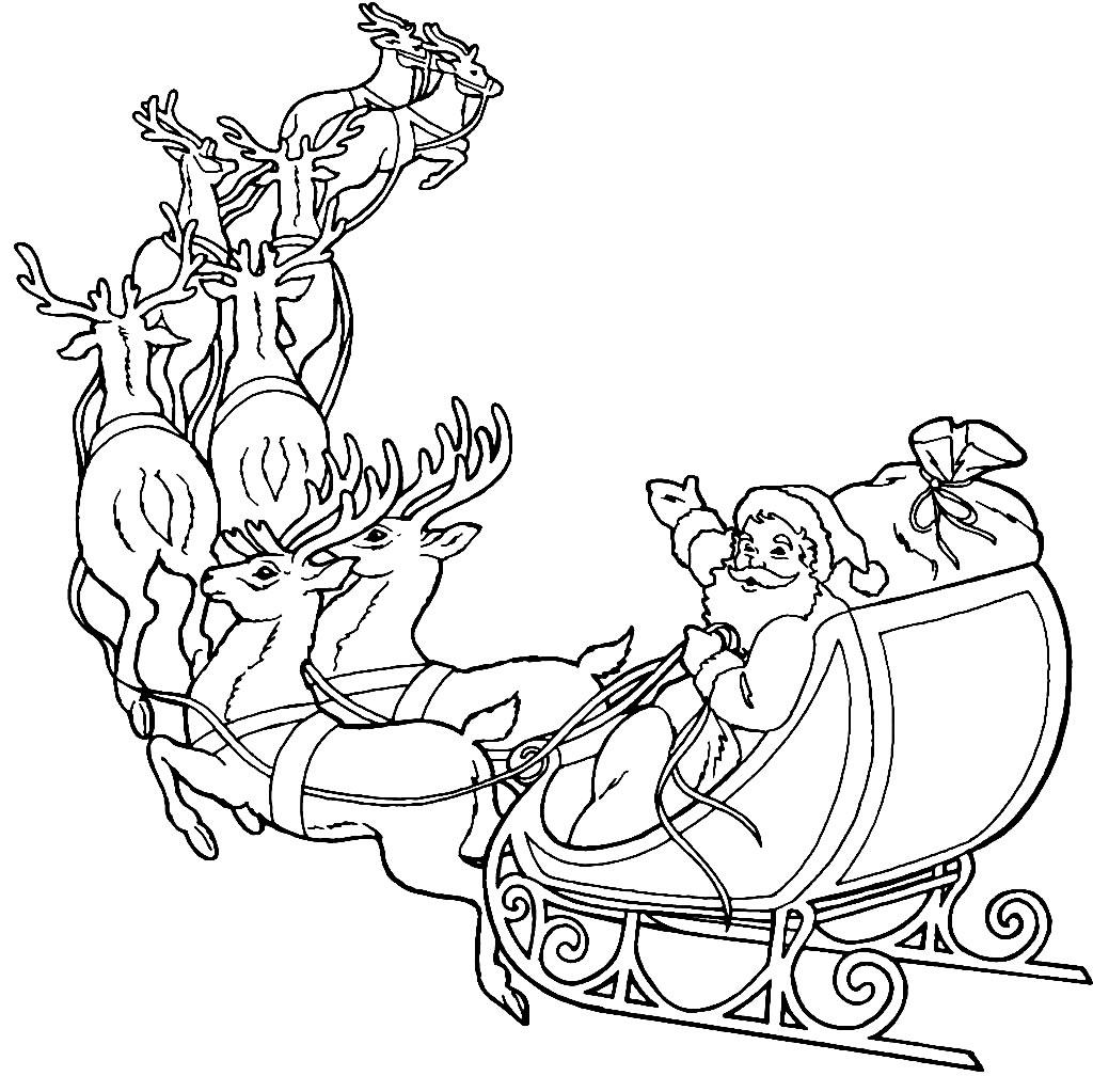 Desenho de Renas e Papai Noel para colorir