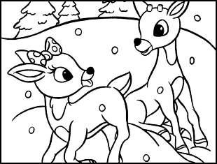 Desenhos de Renas de Natal para colorir