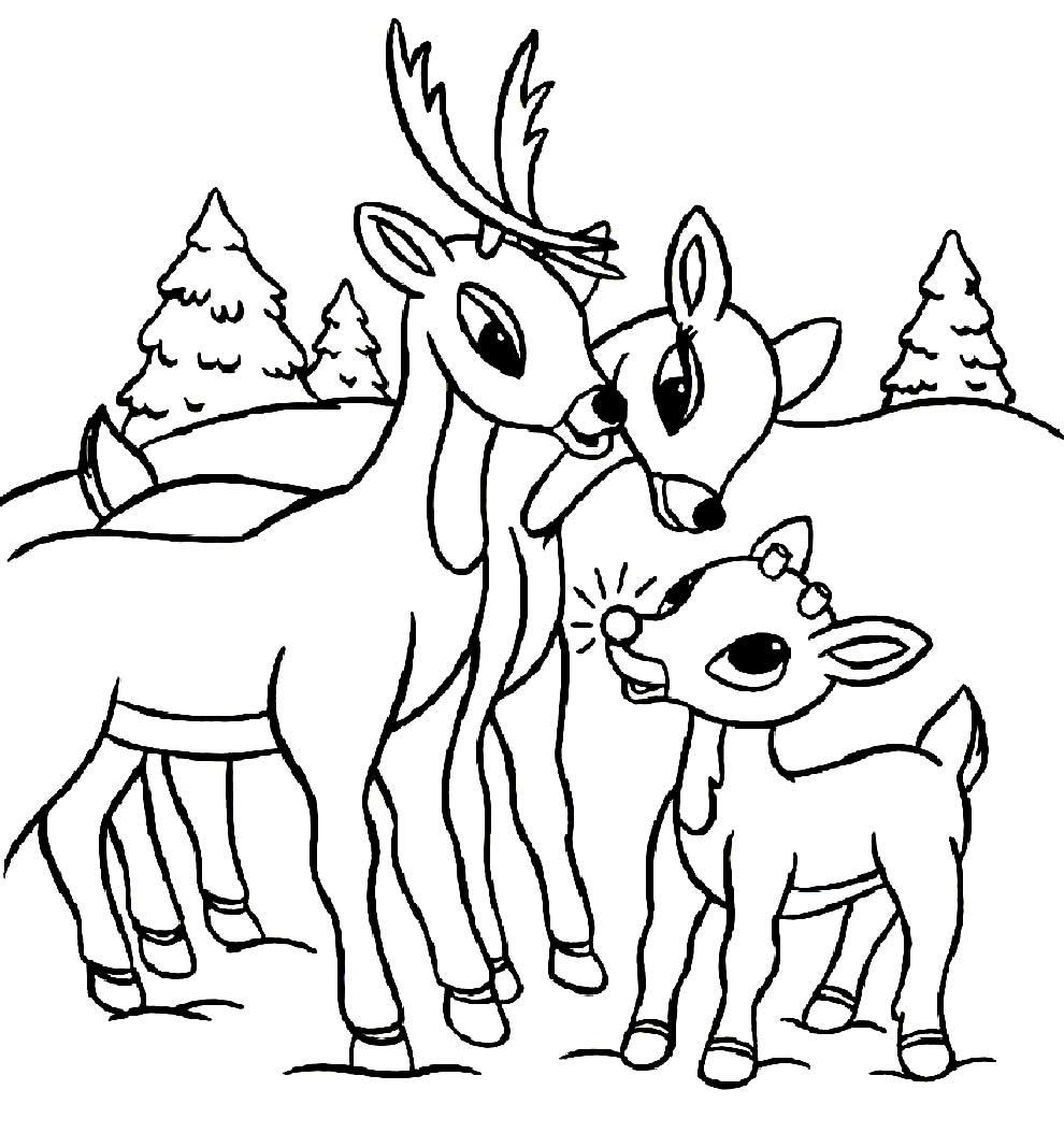 Desenho para colorir de Renas de Natal