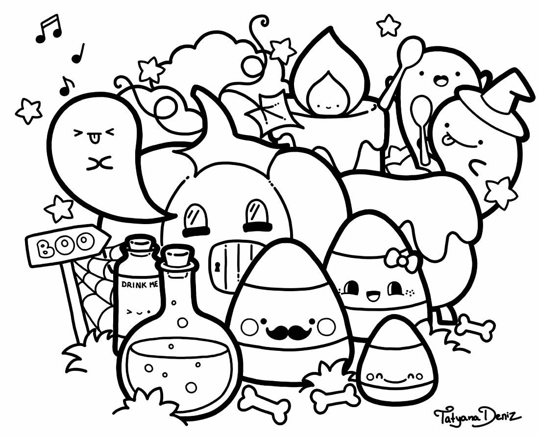Desenho Kawaii fofo para colorir